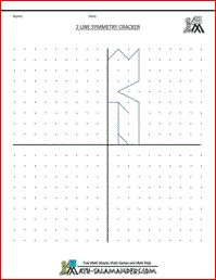 Line Symmetry Picture Cracker, a symmetry worksheet with 2 lines of symmetry