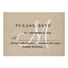 Shop Rustic Linen Canvas Wedding Monogram Initial RSVP created by GeorgetaBlanaruArt. Monogram Wedding Invitations, Wedding Invitation Design, Farm Wedding, Rustic Wedding, Canvas Background, Monogram Initials, Rehearsal Dinners, Rsvp, Announcement