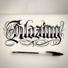 Tattoo Lettering Design, Gothic Lettering, Chicano Lettering, Tattoo Design Drawings, Cool Lettering, Number Tattoo Fonts, Tattoo Fonts Alphabet, Hand Lettering Alphabet, Chicanas Tattoo