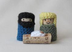 Nativity Set -- Crochet on Recycled Wine Corks. $8.00, via Etsy.