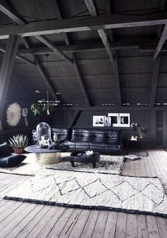 The livingroom loft at the Milla-farm in Aurskog. Home of interior stylist Camilla Berntsen. Togo sofa & vintage Beni Ourain rugs.