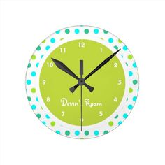 #bedroomdecorforkids Colorful Polka Dot Kid's Bedroom Round Wallclock