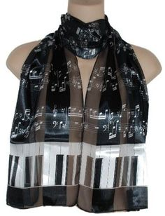 Piano Keys and Music Notes Satin Stripe Musical Instrument Oblong Scarf/sash/belt ~ Choose From Pretty Color Combos $7.99