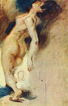 Eugene Delacroix, La Mort de Sardanapale (étude) - pastel on ArtStack #eugene-delacroix #art