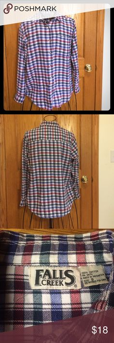 """Vintage Falls Creek Flannel Vintage Button Down Flannel with chest pocket on left side. 100% cotton. Measurements approximately as follows: bust 41"""", sleeves 22"""", front length 27"""" and back length 28"""". Falls Creek Tops Button Down Shirts"""