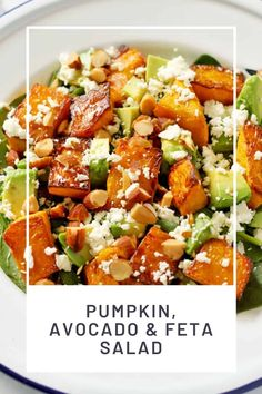 Pumpkin And Feta Salad, Roast Pumpkin Salad, Vegetarian Lunch, Vegetarian Recipes, Cooking Recipes, Healthy Salad Recipes, Vegetable Recipes, Healthy Side Dishes, Spinach Side Dishes
