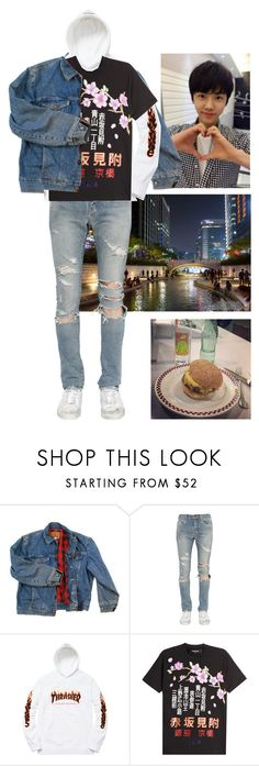 """Jaemin; Han River + Burgers w/ Jun."" by kay-anxns ❤ liked on Polyvore featuring Wrangler, Yves Saint Laurent, Dsquared2, men's fashion and menswear"