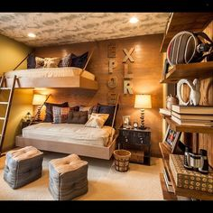 A creative take on bunk beds in this Rustic style bedroom...Tag friends who would like this!Credit to M/I Homes... - Home Decor For Kids And Interior Design Ideas for Children, Toddler Room Ideas For Boys And Girls