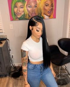 Long Wigs Lace Hair Frontal Long Synthetic Wigs With Bangs Baddie Hairstyles, Black Girls Hairstyles, Pretty Hairstyles, Straight Hairstyles, Black Weave Hairstyles, Simple Hairstyles, Curly Hair Styles, Natural Hair Styles, Hair Laid