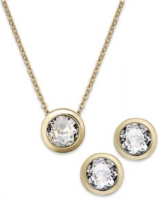Charter Club Glass Circle Pendant Necklace and Earrings Set