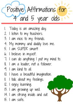 15 Positive Affirmations for Preschool/ Kindergarten - Encourage your children and build self esteem with daily affirmations. Positive Affirmations For Kids, Affirmations Positives, Daily Affirmations, Positive Quotes, Parenting Advice, Kids And Parenting, Gentle Parenting, Teaching Kids, Kids Learning