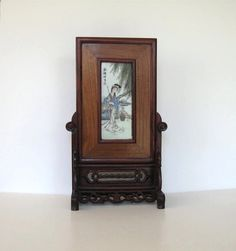 Antique Framed Porcelain Painting RoseWood by jewelryandthings2