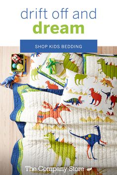 Our secret? We create bedding that will make your child excited for bedtime with their favorite prints like our Dino bedding, and more! Explore our dreamy bedding selections today at The Company Store®. Baby Sewing Projects, Quilting Projects, Quilting Classes, Dinosaur Bedding, Kids Castle, Boy Toddler Bedroom, February Baby, Japanese Quilts, Baby Quilt Patterns