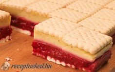 Gyümölcsös, vaníliás kekszes Weight Watchers Desserts, No Bake Treats, Cheesecake, Food And Drink, Sweets, Cookies, Pastries, Neon, Bakken