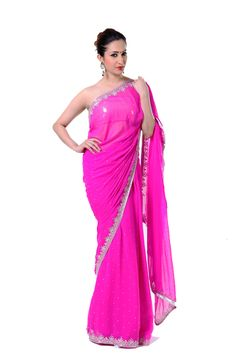 Ranas Woman Faux Georgette Pink Crystal Sarees