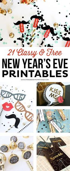 You'll find all the printables you need to throw the perfect party with these 21 Classy and FREE New Year's Eve Printables! You'll find all the printables you need to throw the perfect party with these 21 Classy and FREE New Year's Eve Printables! Silvester Snacks, Silvester Diy, New Years Eve Day, New Years Party, New Year Printables, Party Printables, Printable Crafts, Free Printables, New Year's Eve Celebrations