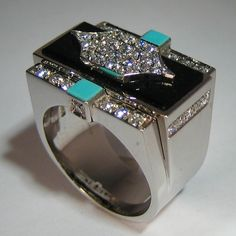 Art Deco Ring, White Gold 18 Carats, with Brilliants, Turquoise and Onyx. - ALL HAND MADE -