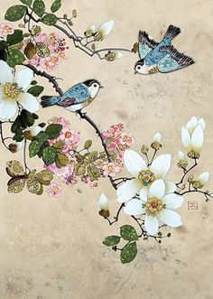 Magnolia Birds by Jane Crowther. Design for Bug Art greeting cards.