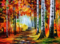 """Sunny October 2 — Palette Knife Autumn Birches Forest Oil Painting On Canvas By Leonid Afremov. Size: 40"""" X 30"""" Inches (100 cm x 75 cm)"""