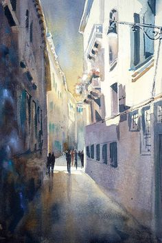 Venice light by Sarah Yeoman Watercolor ~ 21 x 14 Watercolor Walls, Watercolor Paintings, Canvas Artwork, Canvas Prints, Lighted Canvas, Beginner Painting, Ink Illustrations, Contemporary Paintings, Fine Art Paper