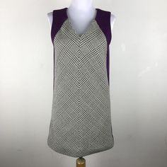 Rag & Bone Dress Sz XS Geometric Aline Sleeveless Wool Cotton Purple Black Mini #ragbone #ALineDressMod