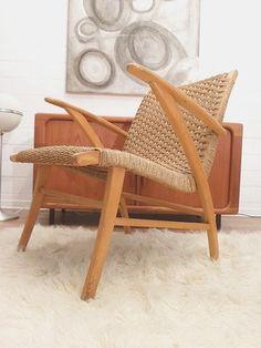 50er / 60er J. Vintage Design lounge chair. Mid century Mouille Ära
