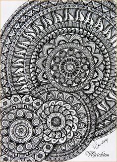 Zentangle, zendala, mandala, graphic, hand-made, pattern, tangle, графика, зендала, мандала, узоры, рисование гелевой ручкой, черно-белая графика, зентангл, тангл, паттерн.