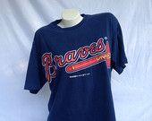 Vintage 90s Atlanta Braves navy Starter brand T shirt