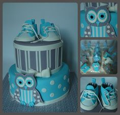 Converse baby shoes and owl - A vanilla cake with buttercream frosting and salty caramel filling covered with fondant for a baby shower. All the details are fondant. The design was inspired by the baby bedding. I love to make little converse shoes! I also made cookies and french macarons to match the cake.