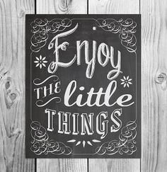 Enjoy The Little Things | Chalkboard Printable Art | Instant Download | Whimsical Spring Home Decor | Modern Type