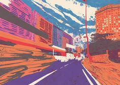 Tricolored Illustrations Inspired by a Random Walk using Google Street View