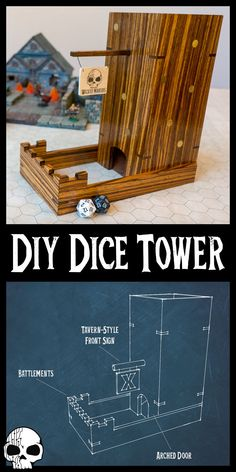 Learn how to make a Dice Tower! Make your DnD games even more EPIC with this DIY Dice Tower build! Dungeons And Dragons Gifts, Dungeons And Dragons Homebrew, Dice Tower, Dice Box, Wood Games, Diy For Men, Diy Projects For Men, Wood Projects, Do It Yourself Crafts