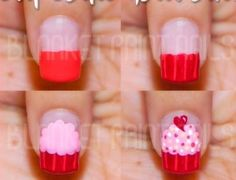 The cutest nail art cupcake I've seen! Get Nails, Fancy Nails, Love Nails, How To Do Nails, Pretty Nails, Hair And Nails, Nail Art Cupcake, Creative Nails, Nail Tutorials