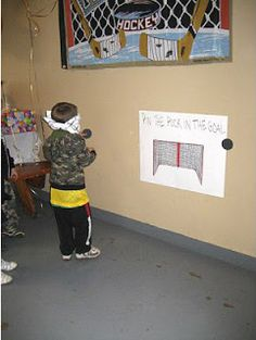 """Barefoot in Paradise: Hockey Themed Birthday Party - instead of pin the tail on the donkey, its """"put the puck in the net""""!"""