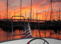 Sunset at Burnt Store Marina south of Punta Gorda, Florida, from the cockpit of the sailing vessel AWOL.