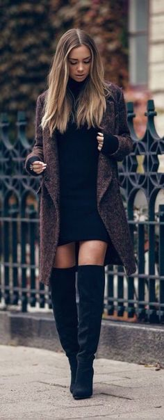 Sweater dress & OTK boots.