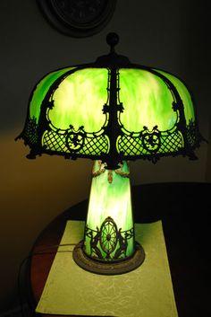 Art Nouveau Handel Bradley Hubbard Era Slag Lighthouse RARE Table Lamp C 1920 | eBay