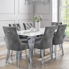 White Jade Boutique Dining Set with 6 Dining Chairs in Grey Velvet Grey Dining Room Chairs, 6 Seater Dining Table, Grey Dining Tables, Luxury Dining Tables, Dining Room Table Decor, Luxury Dining Room, Dining Room Furniture, White Dining Set, Mirror Dining Table