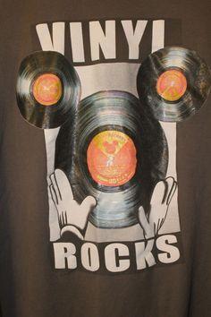 Disney Mickey Vinyl Rocks Shirt XXL Gray 100% Cotton Record LP Short Sleeve  #Disney #EmbellishedTee