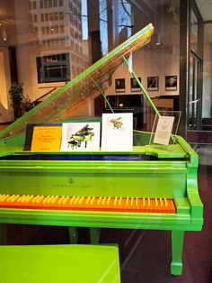 A freaking amazing shocking green baby grand piano with orange keys | Flickr - Photo Sharing!