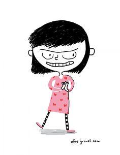 Face de mauvais coup | Elise Gravel Japanese Illustration, Woman Illustration, Illustration Sketches, Elise Gravel, Little Girl Illustrations, Happy Monster, Evil Girl, Cartoon People, Symbol Design