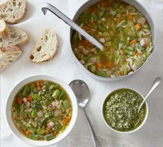 Using a selection of green vegetables gives this soup a summery feel and contrasting textures