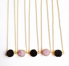 Black Druzy and rose quartz necklaces now available at www.WeAreVR.co.uk #handmade #jewellery #necklaces #chakra #healing #crystals #gems #gemstones #boho #bohemian #silver #fashion # costumejewellery #fashionjewellery #style #grunge #90s #stylist #wearevr