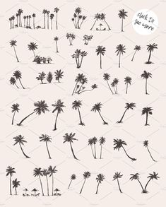 Silhouettes of palm trees by Bakani on Thin Line Tattoos, Mini Tattoos, Small Tattoos, Palm Tree Uses, Small Palm Trees, Palm Tree Silhouette, Tattoo Templates, Ink Illustrations, First Tattoo