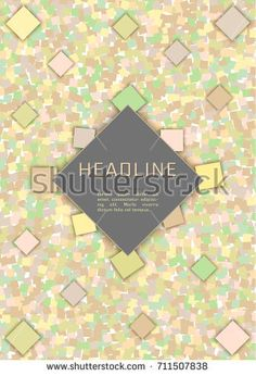 Abstract Vector design template with yellow, green squares Rhombus place for text. For Cover Report Annual Brochure, Flyer, Poster. Editable layout for presentation, website and print, magazine cover.