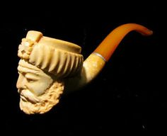 Vintage Hand Carved Pipe w/ Bearded Man in Turban from Woodstock Antiques