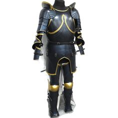 Larp Armor Medieval Decorative Gothic Armour Set in black and gold special finish. Larp Armor, Cosplay Armor, Pauldron, Shoulder Armor, Fantasy Armor, Armour, Medieval, Gothic, Black