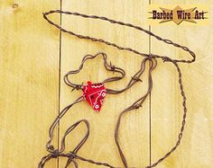 Cowgirl Handmade rustic barbed wire art by BarbedWireArtist