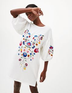 Long sleeve sweater floral embroidered sweatshirt - Sweaters - Bershka United Kingdom