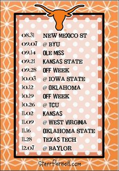 Get it for FREE on my Facebook page www.Facebook.com/StarrParnellDesigns   Printable University of Texas Football Schedule by StarrParnell, $1.00